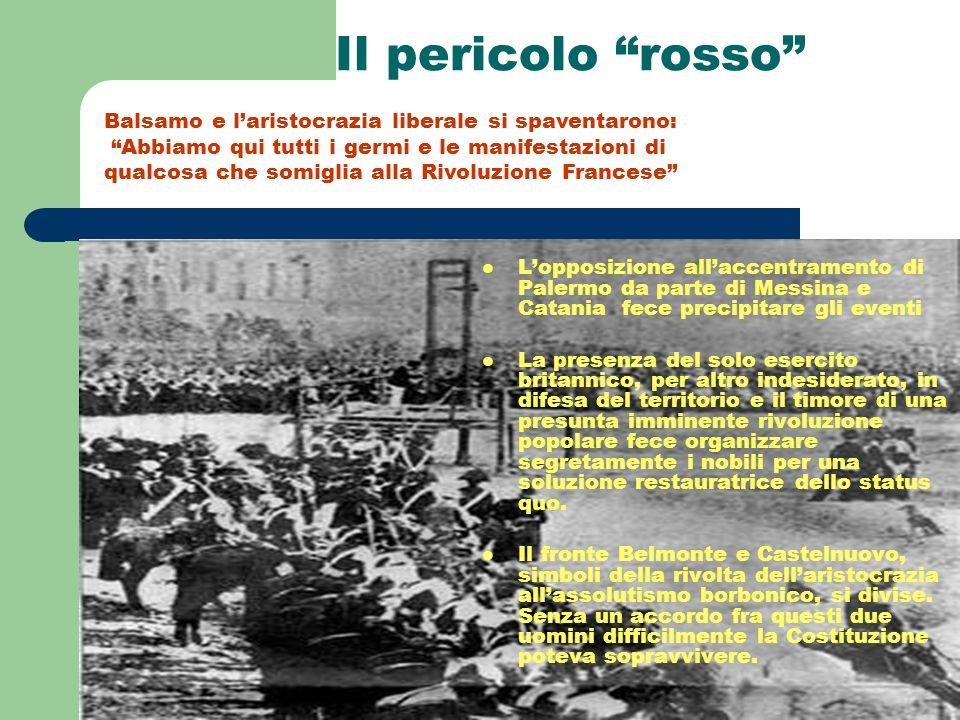 Il pericolo rosso Lopposizione allaccentramento di Palermo da parte di Messina e Catania fece precipitare gli eventi La presenza del solo esercito bri