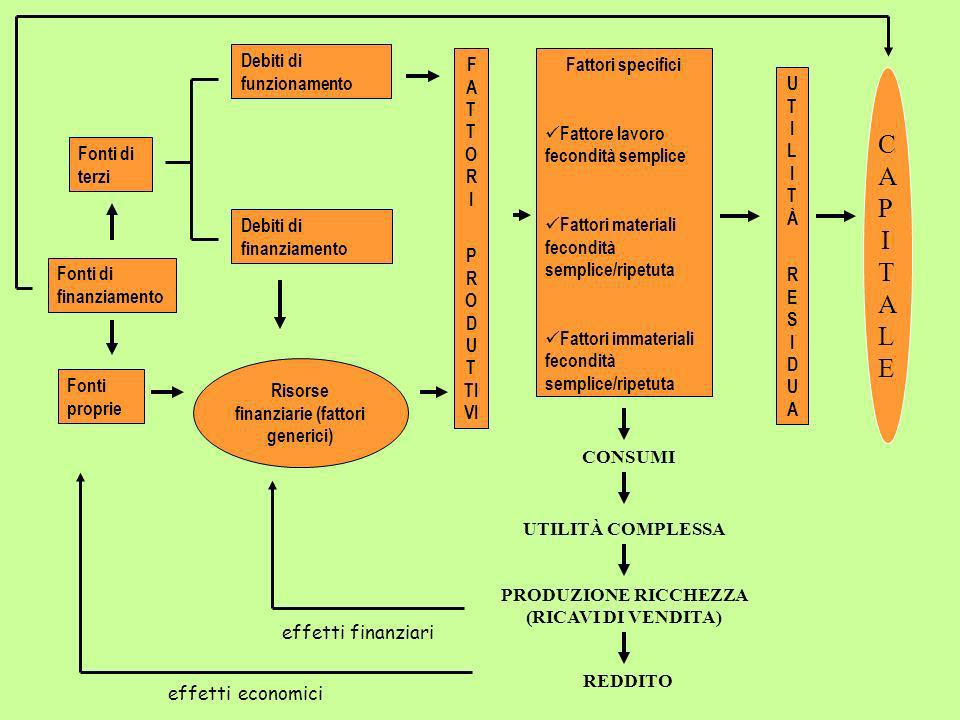Risorse finanziarie (fattori generici) F A T T O R I P R O D U T TI VI Debiti di funzionamento Debiti di finanziamento Fattori specifici Fattore lavor