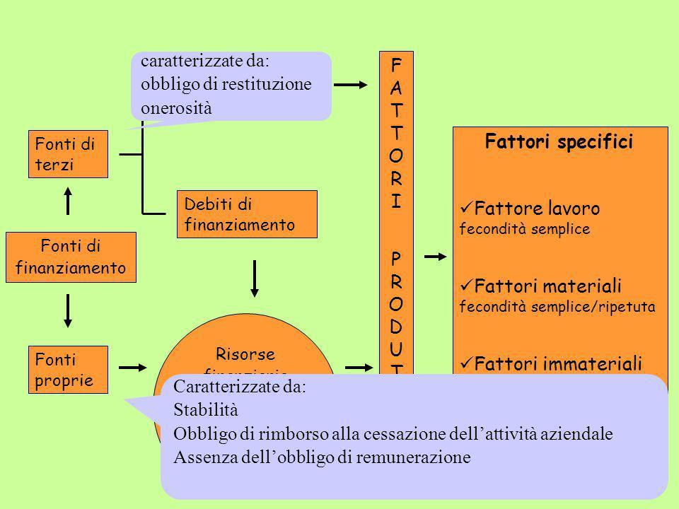 Risorse finanziarie (fattori generici) Conferimenti in natura FATTORI PRODUTTIVIFATTORI PRODUTTIVI Debiti di funzionamento Debiti di finanziamento Fat