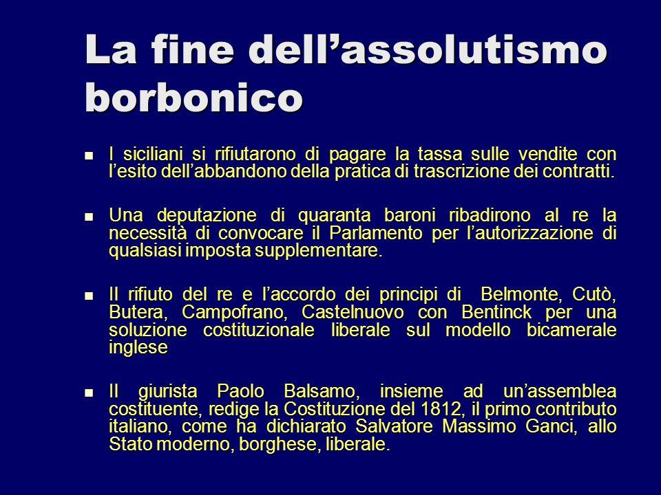 La fine dellassolutismo borbonico I siciliani si rifiutarono di pagare la tassa sulle vendite con lesito dellabbandono della pratica di trascrizione d
