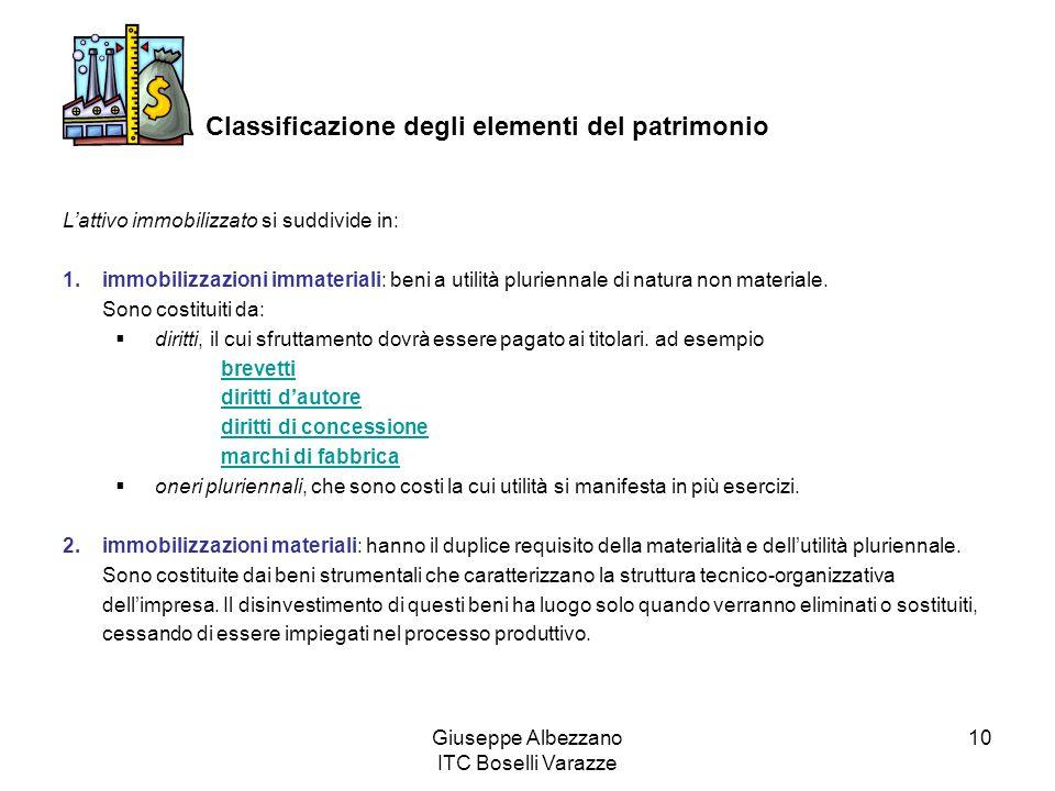 Giuseppe Albezzano ITC Boselli Varazze 10 Classificazione degli elementi del patrimonio Lattivo immobilizzato si suddivide in: 1.immobilizzazioni immateriali: beni a utilità pluriennale di natura non materiale.