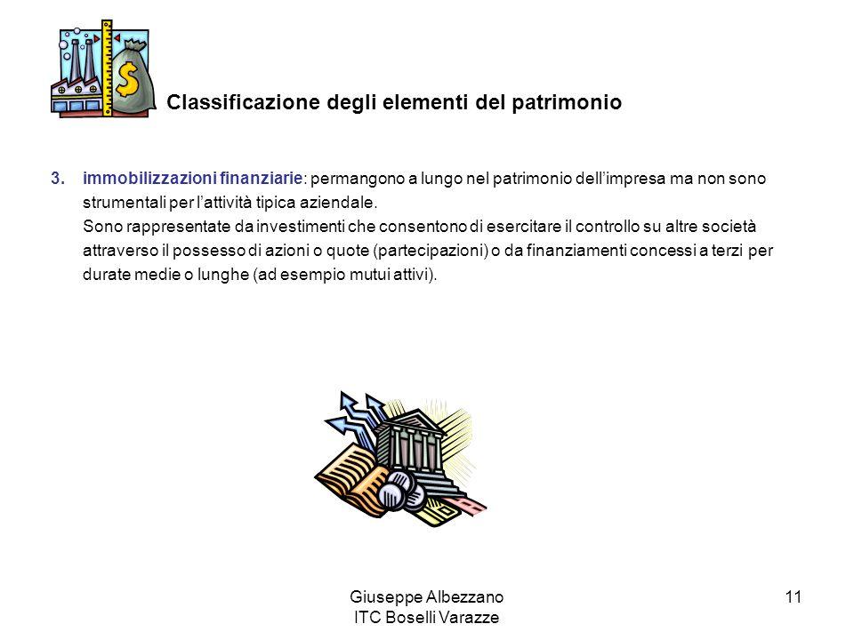 Giuseppe Albezzano ITC Boselli Varazze 11 Classificazione degli elementi del patrimonio 3.immobilizzazioni finanziarie: permangono a lungo nel patrimonio dellimpresa ma non sono strumentali per lattività tipica aziendale.