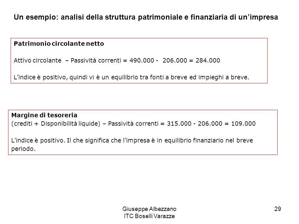 Giuseppe Albezzano ITC Boselli Varazze 29 Un esempio: analisi della struttura patrimoniale e finanziaria di unimpresa Patrimonio circolante netto Attivo circolante – Passività correnti = 490.000 - 206.000 = 284.000 Lindice è positivo, quindi vi è un equilibrio tra fonti a breve ed impieghi a breve.