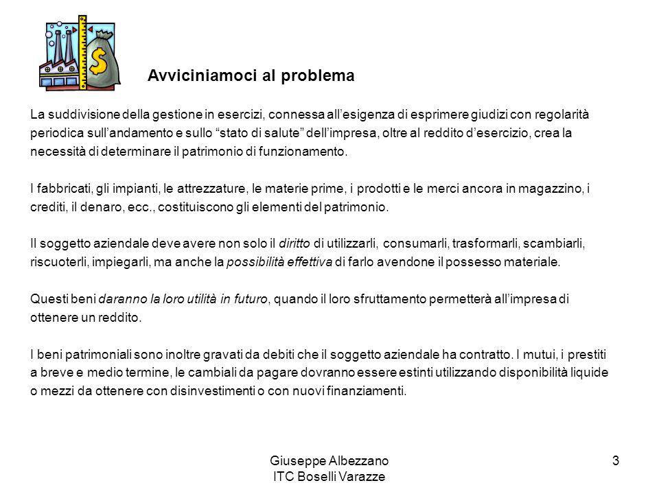 Giuseppe Albezzano ITC Boselli Varazze 3 La suddivisione della gestione in esercizi, connessa allesigenza di esprimere giudizi con regolarità periodica sullandamento e sullo stato di salute dellimpresa, oltre al reddito desercizio, crea la necessità di determinare il patrimonio di funzionamento.