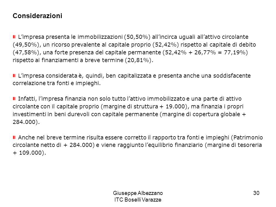 Giuseppe Albezzano ITC Boselli Varazze 30 Considerazioni Limpresa presenta le immobilizzazioni (50,50%) allincirca uguali allattivo circolante (49,50%), un ricorso prevalente al capitale proprio (52,42%) rispetto al capitale di debito (47,58%), una forte presenza del capitale permanente (52,42% + 26,77% = 77,19%) rispetto ai finanziamenti a breve termine (20,81%).