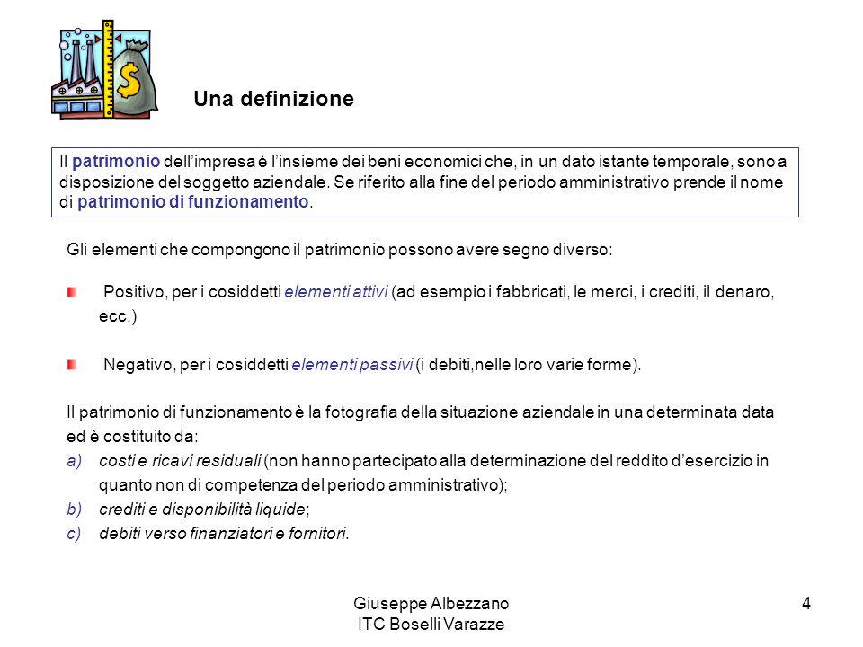 Giuseppe Albezzano ITC Boselli Varazze 4 Una definizione Il patrimonio dellimpresa è linsieme dei beni economici che, in un dato istante temporale, sono a disposizione del soggetto aziendale.