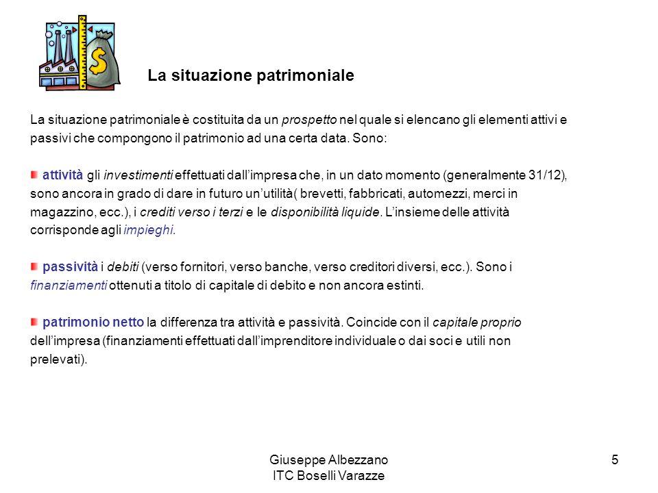 Giuseppe Albezzano ITC Boselli Varazze 5 La situazione patrimoniale La situazione patrimoniale è costituita da un prospetto nel quale si elencano gli elementi attivi e passivi che compongono il patrimonio ad una certa data.