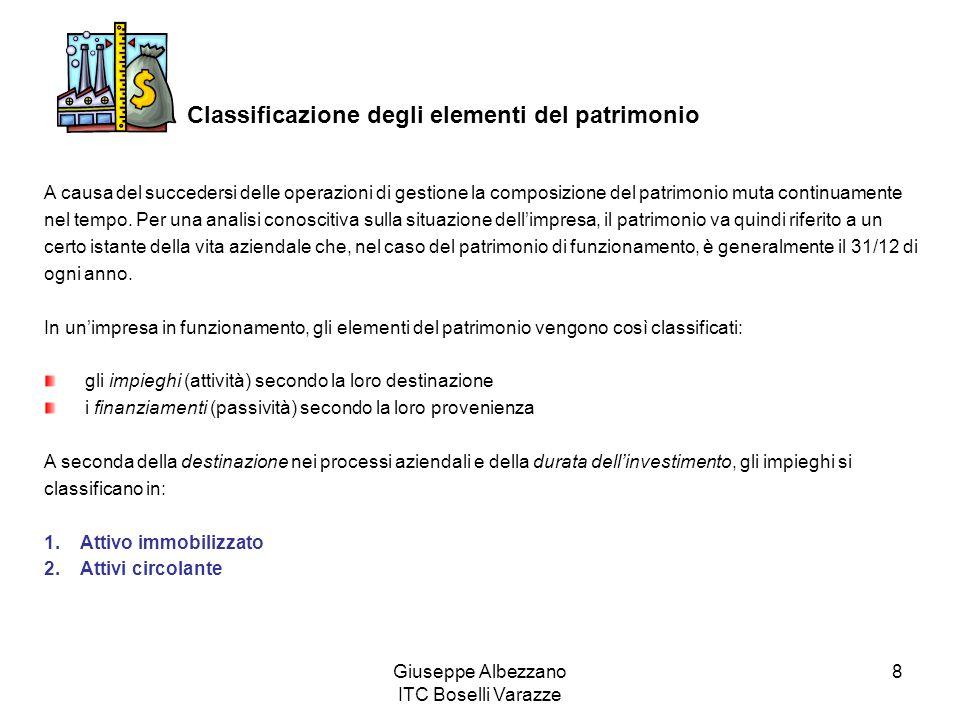 Giuseppe Albezzano ITC Boselli Varazze 8 Classificazione degli elementi del patrimonio A causa del succedersi delle operazioni di gestione la composizione del patrimonio muta continuamente nel tempo.