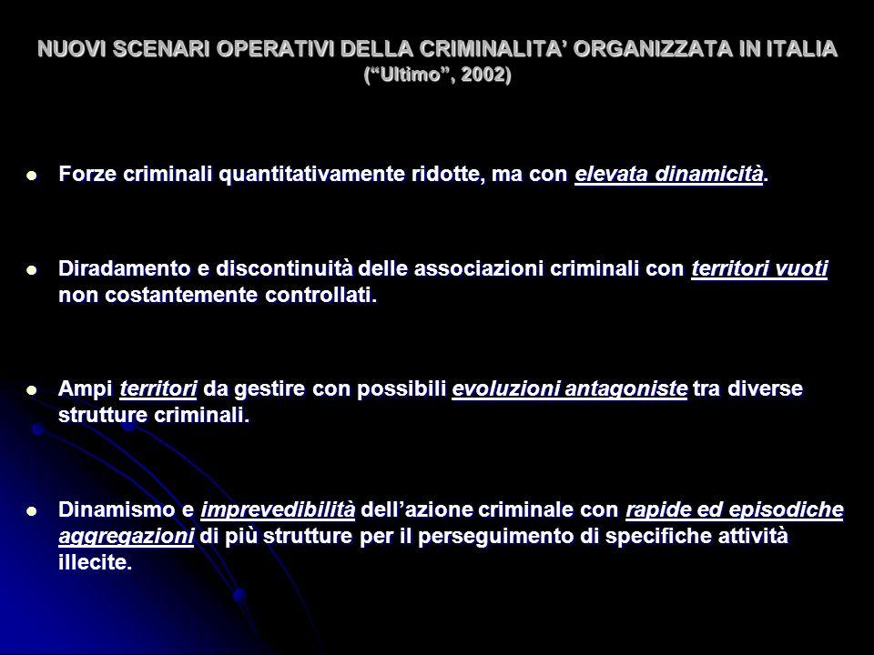 NUOVI SCENARI OPERATIVI DELLA CRIMINALITA ORGANIZZATA IN ITALIA (Ultimo, 2002) Forze criminali quantitativamente ridotte, ma con elevata dinamicità.