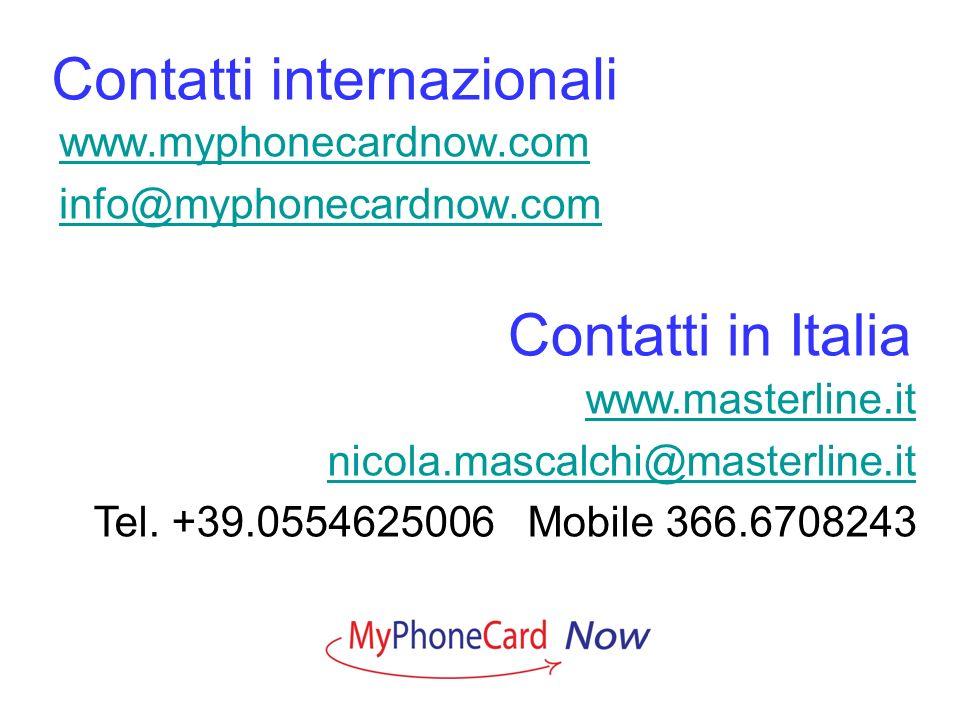Contatti internazionali www.myphonecardnow.com info@myphonecardnow.com Contatti in Italia www.masterline.it nicola.mascalchi@masterline.it Tel. +39.05