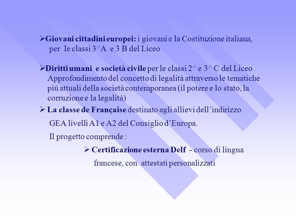 Giovani cittadini europei: i giovani e la Costituzione italiana, per le classi 3^A e 3 B del Liceo Diritti umani e società civile per le classi 2^ e 3