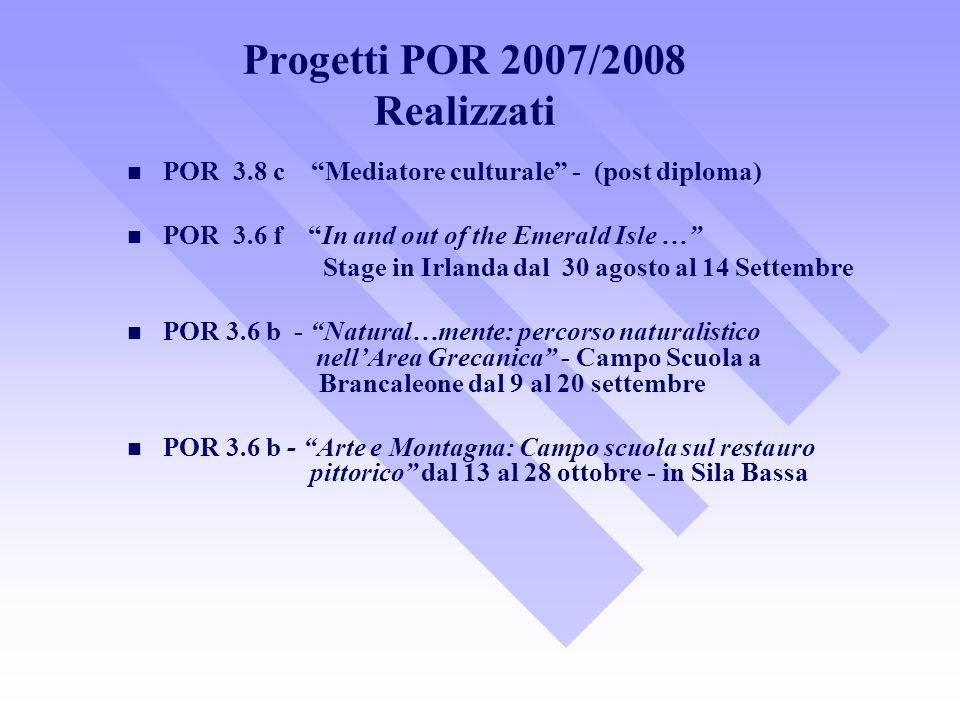 Progetti POR 2007/2008 Realizzati POR 3.8 c Mediatore culturale - (post diploma) POR 3.6 f In and out of the Emerald Isle … Stage in Irlanda dal 30 ag