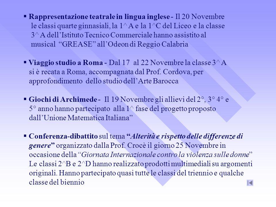 Rappresentazione teatrale in lingua inglese - Il 20 Novembre le classi quarte ginnasiali, la 1^ A e la 1^C del Liceo e la classe 3^ A dellIstituto Tec