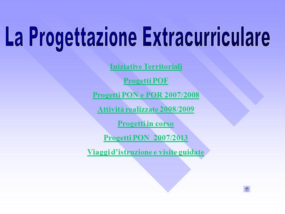 Iniziative Territoriali Progetti POF Progetti PON e POR 2007/2008 Attività realizzate 2008/2009 Progetti in corso Progetti PON 2007/2013 Viaggi distru