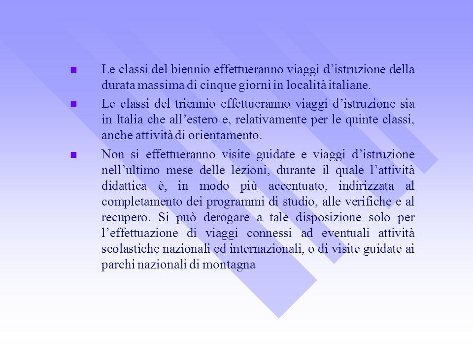 Le classi del biennio effettueranno viaggi distruzione della durata massima di cinque giorni in località italiane. Le classi del triennio effettuerann