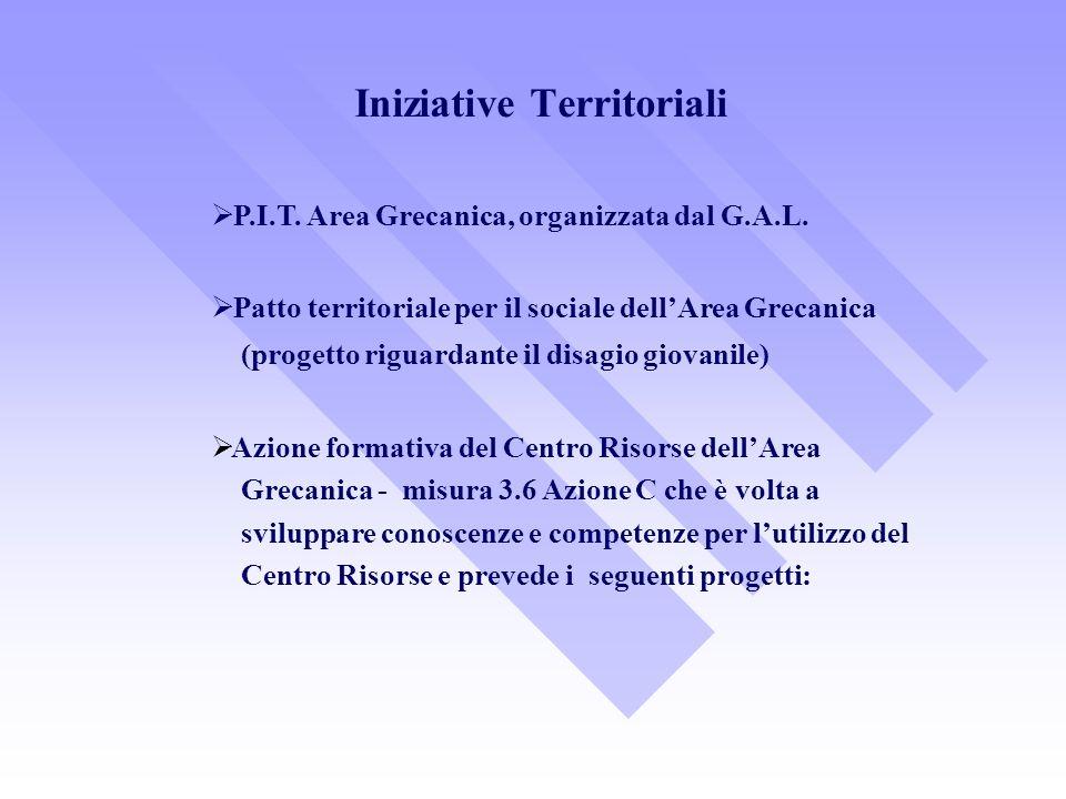 P.I.T. Area Grecanica, organizzata dal G.A.L. Patto territoriale per il sociale dellArea Grecanica (progetto riguardante il disagio giovanile) Azione