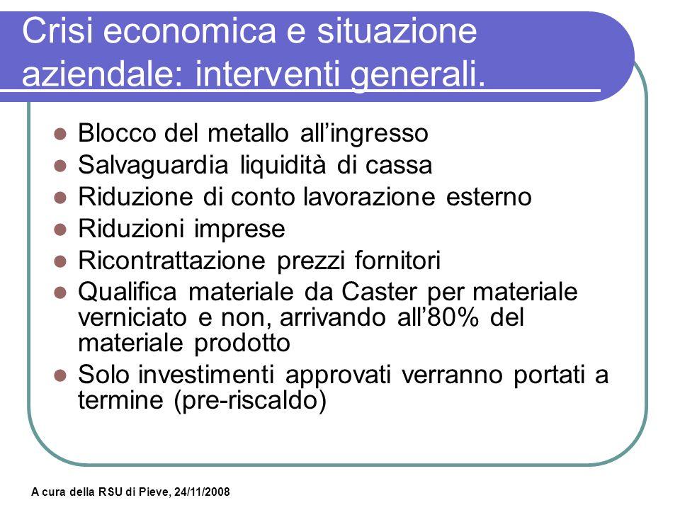 A cura della RSU di Pieve, 24/11/2008 Crisi economica e situazione aziendale: ipotesi aziendale.