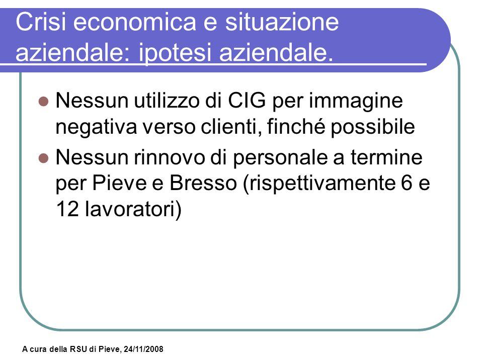 A cura della RSU di Pieve, 24/11/2008 Crisi economica e situazione aziendale: ipotesi aziendale III^ sez.