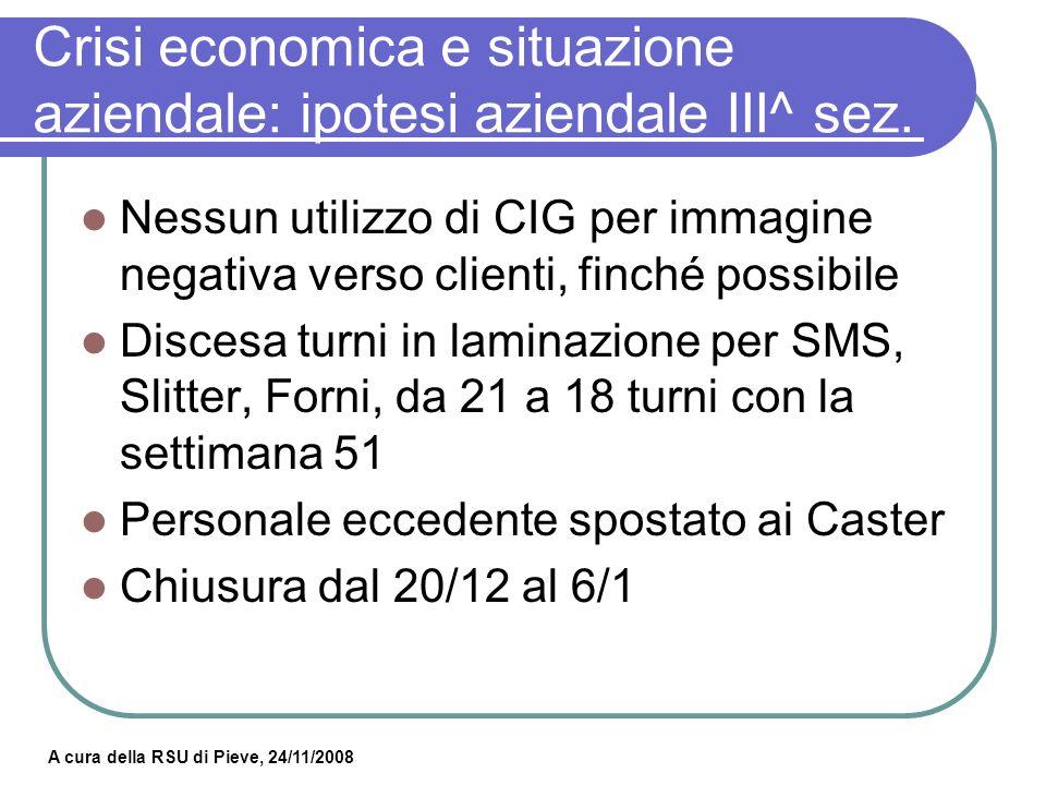 A cura della RSU di Pieve, 24/11/2008 Crisi economica e situazione aziendale: ipotesi aziendale Caster.