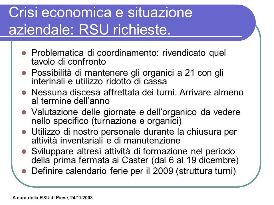 A cura della RSU di Pieve, 24/11/2008 Crisi economica e situazione aziendale: RSU domande.
