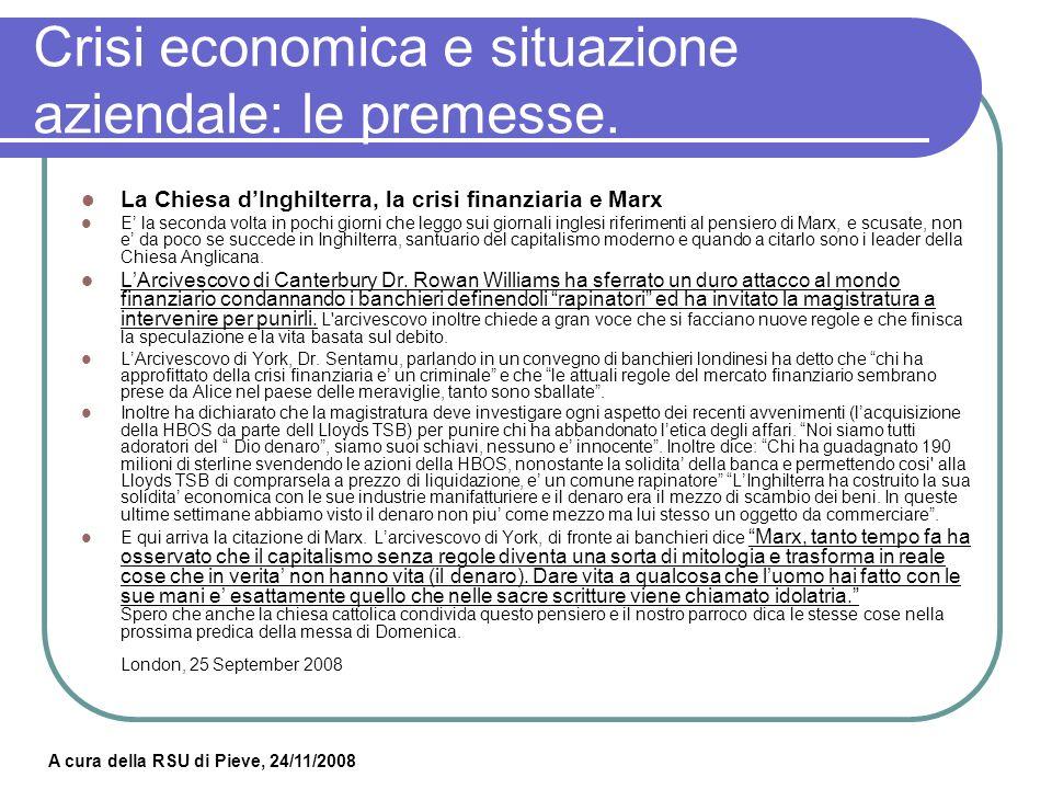 A cura della RSU di Pieve, 24/11/2008 Crisi economica e situazione aziendale: i concorrenti.