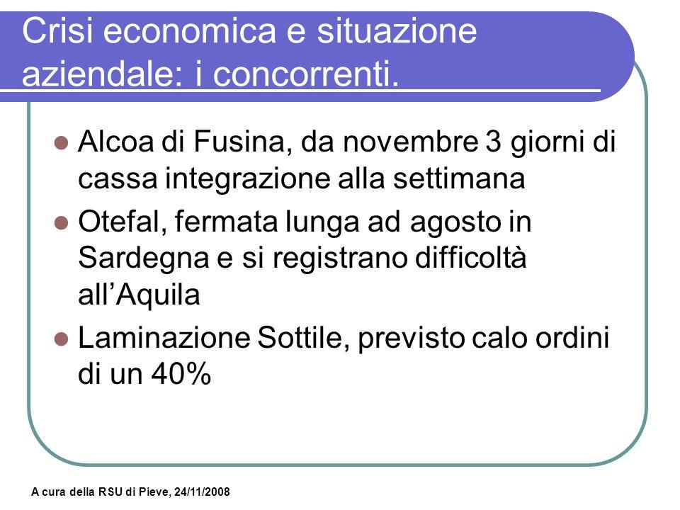 A cura della RSU di Pieve, 24/11/2008 Crisi economica e situazione aziendale: primo trimestre 2009.