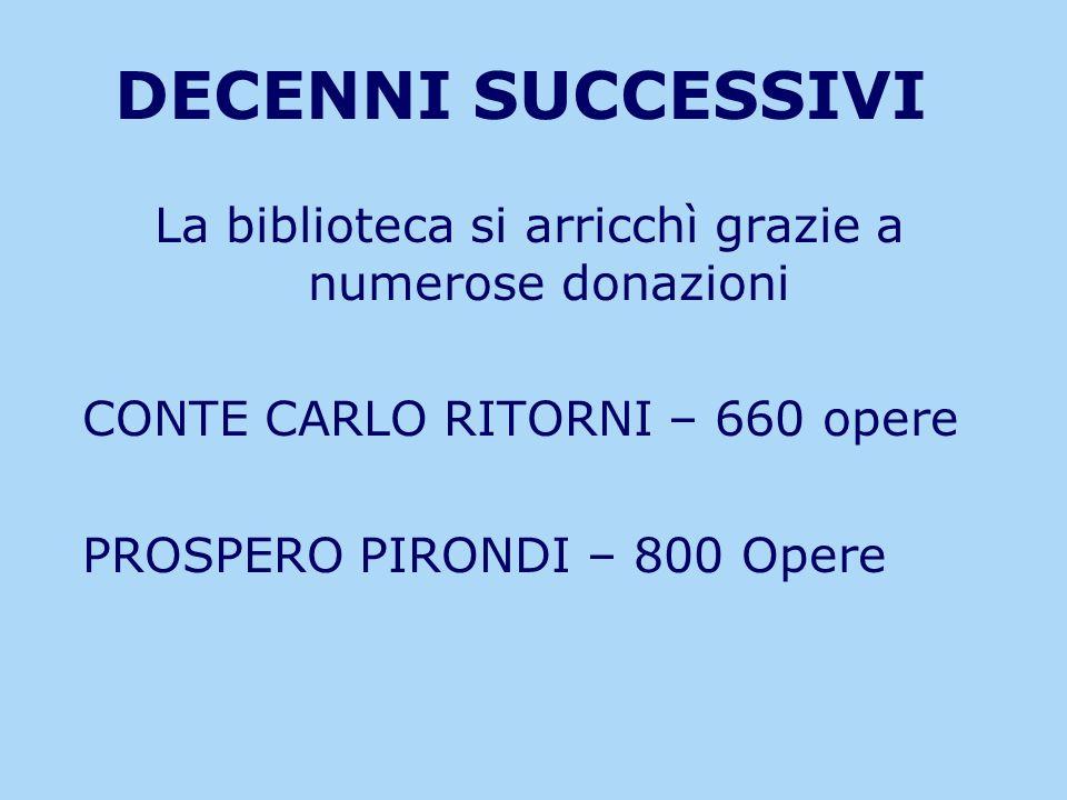 DECENNI SUCCESSIVI La biblioteca si arricchì grazie a numerose donazioni CONTE CARLO RITORNI – 660 opere PROSPERO PIRONDI – 800 Opere