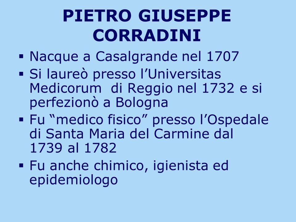 PIETRO GIUSEPPE CORRADINI Nacque a Casalgrande nel 1707 Si laureò presso lUniversitas Medicorum di Reggio nel 1732 e si perfezionò a Bologna Fu medico