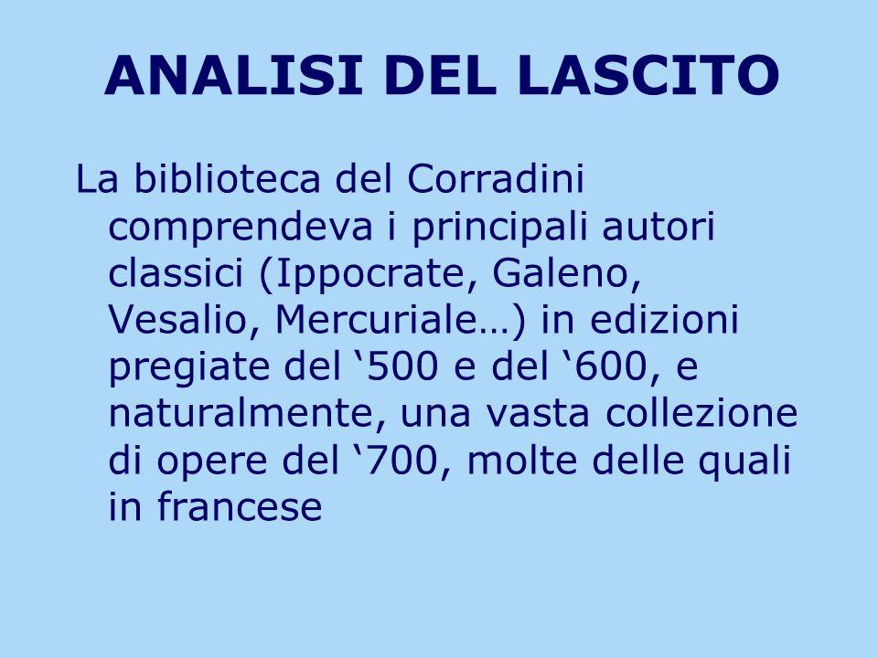 ANALISI DEL LASCITO La biblioteca del Corradini comprendeva i principali autori classici (Ippocrate, Galeno, Vesalio, Mercuriale…) in edizioni pregiat
