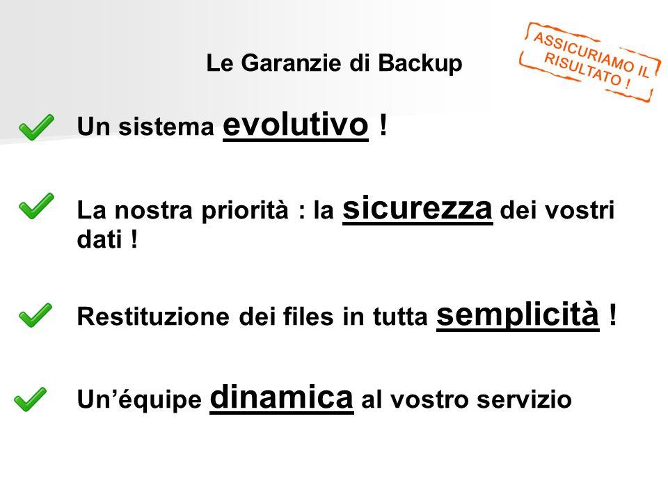 Le Garanzie di Backup Un sistema evolutivo ! La nostra priorità : la sicurezza dei vostri dati ! Restituzione dei files in tutta semplicità ! Unéquipe