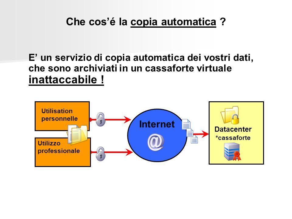 Datacenter *cassaforte Internet Utilizzo professionale Utilisation personnelle Che cosé la copia automatica ? E un servizio di copia automatica dei vo