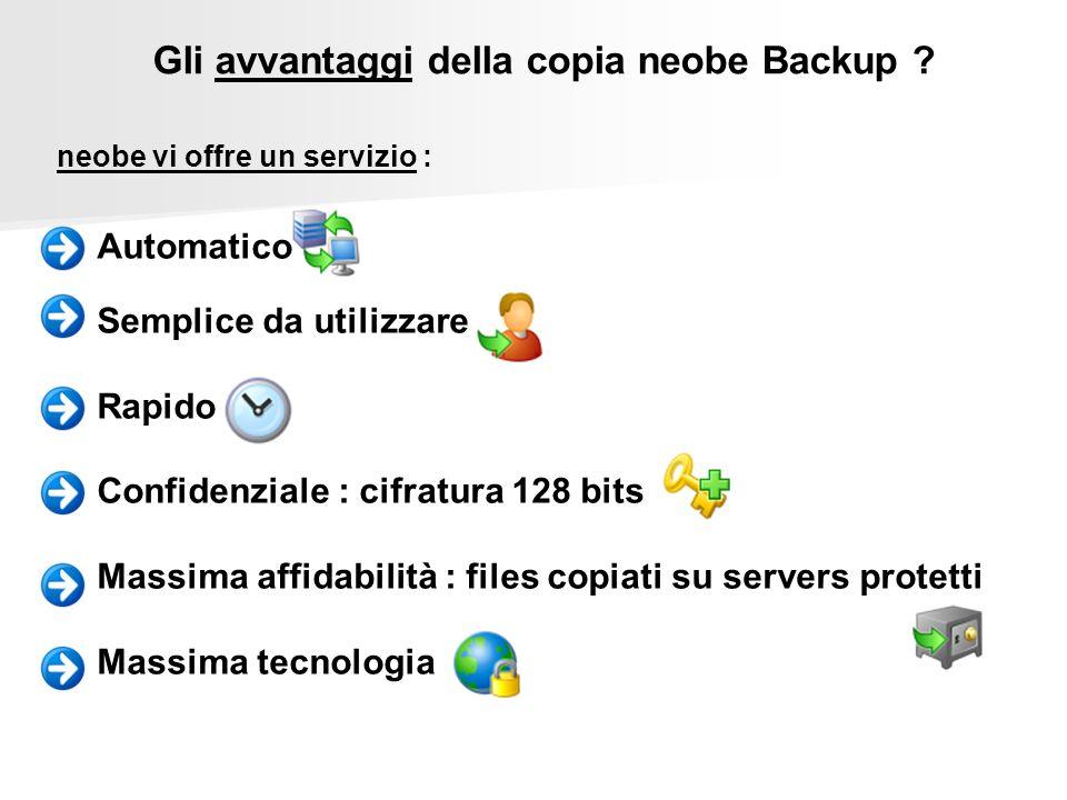 neobe vi offre un servizio : Automatico Semplice da utilizzare Rapido Confidenziale : cifratura 128 bits Massima affidabilità : files copiati su serve