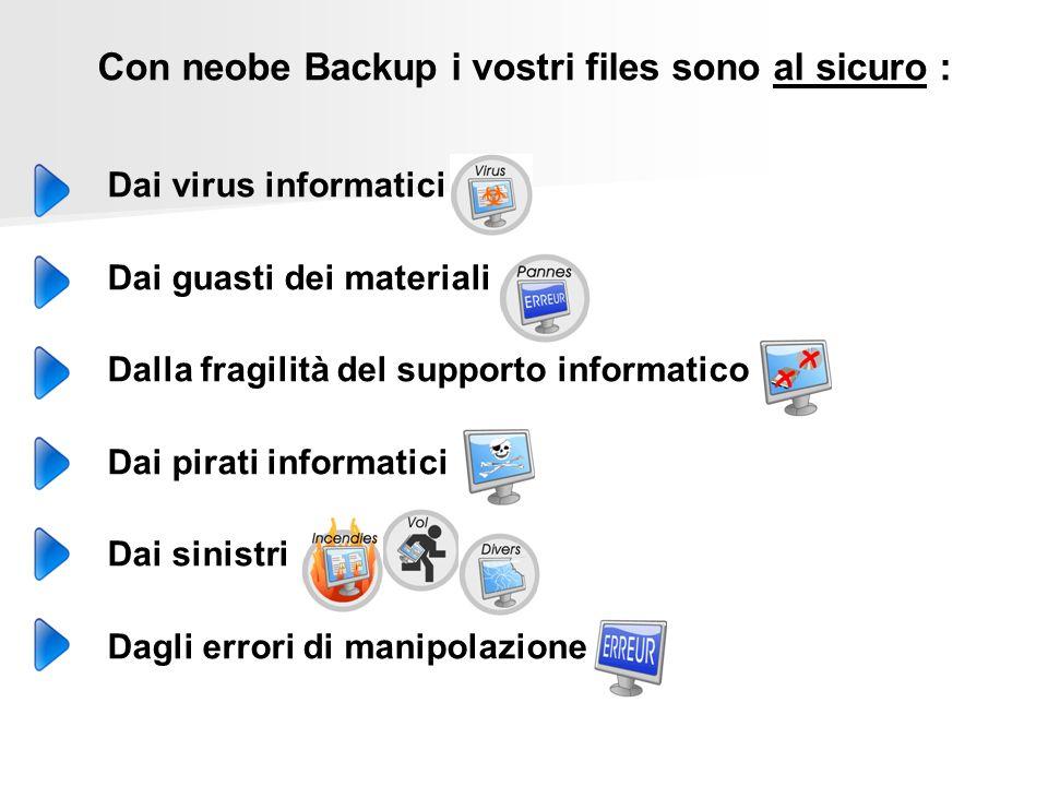 Con neobe Backup i vostri files sono al sicuro : Dai virus informatici Dai guasti dei materiali Dalla fragilità del supporto informatico Dai pirati informatici Dai sinistri Dagli errori di manipolazione