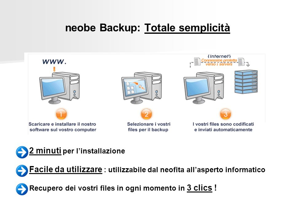 neobe Backup: Totale semplicità 2 minuti per linstallazione Facile da utilizzare : utilizzabile dal neofita allasperto informatico Recupero dei vostri files in ogni momento in 3 clics !