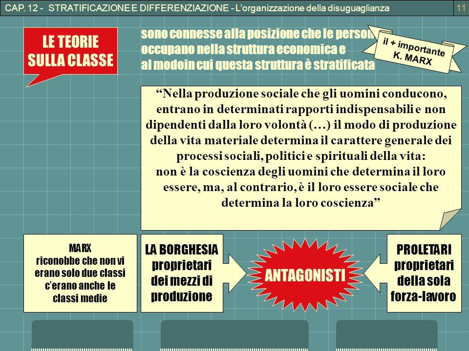 CAP. 12 - STRATIFICAZIONE E DIFFERENZIAZIONE - Lorganizzazione della disuguaglianza11 LE TEORIE SULLA CLASSE sono connesse alla posizione che le perso