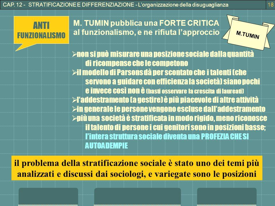CAP. 12 - STRATIFICAZIONE E DIFFERENZIAZIONE - Lorganizzazione della disuguaglianza18 M.TUMIN non si può misurare una posizione sociale dalla quantità