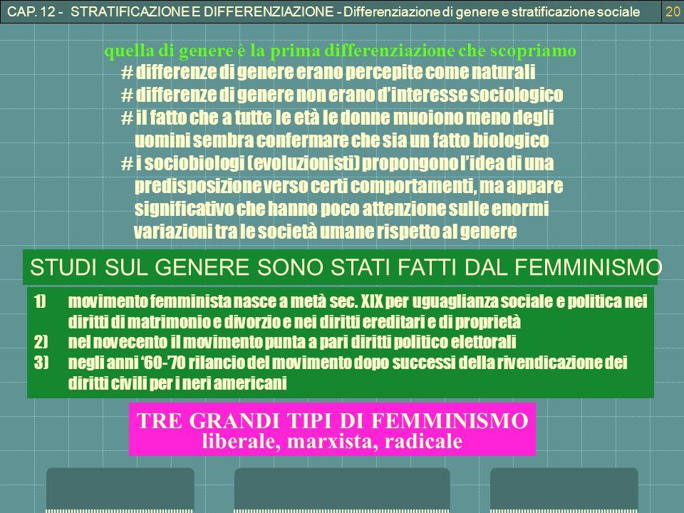 CAP. 12 - STRATIFICAZIONE E DIFFERENZIAZIONE - Differenziazione di genere e stratificazione sociale20 quella di genere è la prima differenziazione che