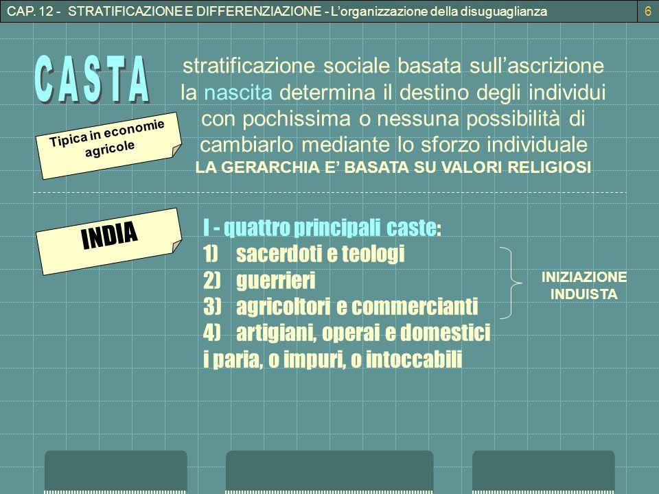 CAP. 12 - STRATIFICAZIONE E DIFFERENZIAZIONE - Lorganizzazione della disuguaglianza6 stratificazione sociale basata sullascrizione la nascita determin