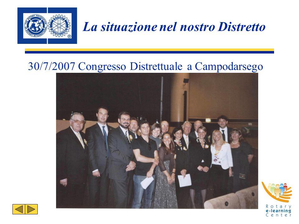 30/7/2007 Congresso Distrettuale a Campodarsego La situazione nel nostro Distretto