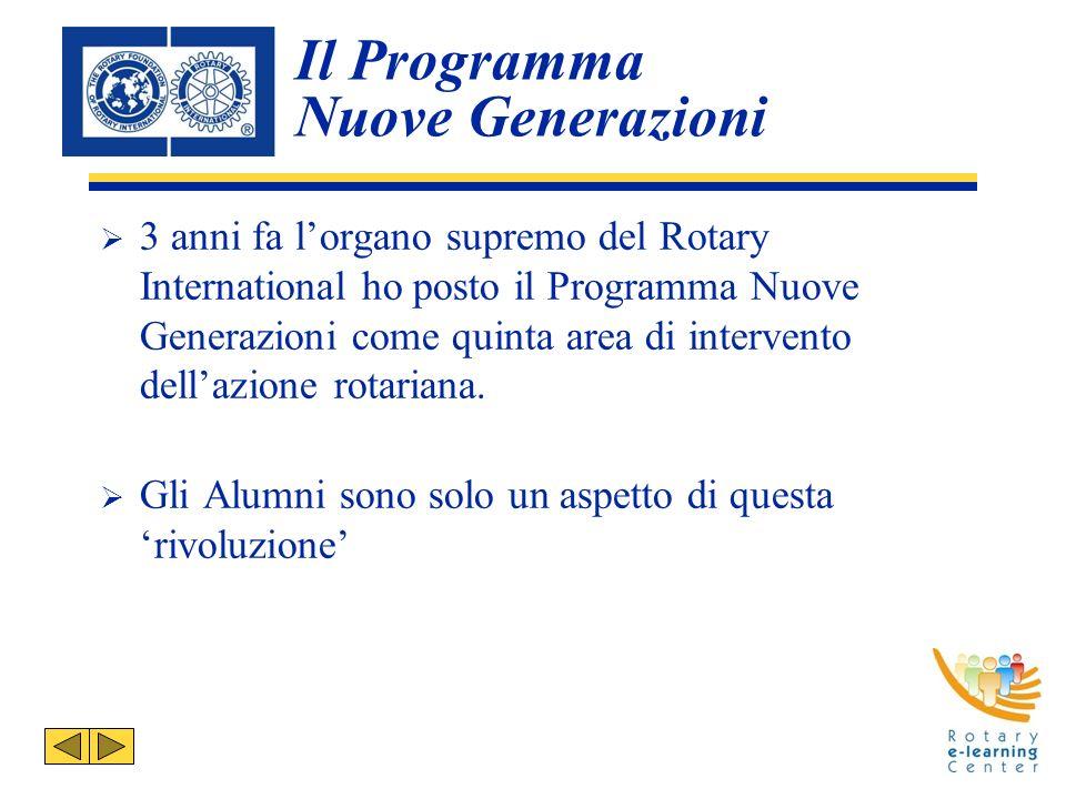 Il Programma Nuove Generazioni 3 anni fa lorgano supremo del Rotary International ho posto il Programma Nuove Generazioni come quinta area di intervento dellazione rotariana.