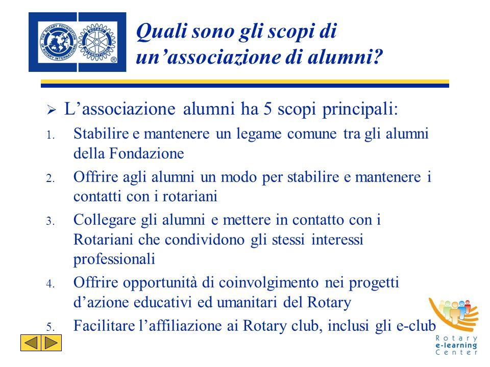 Quali sono gli scopi di unassociazione di alumni. Lassociazione alumni ha 5 scopi principali: 1.