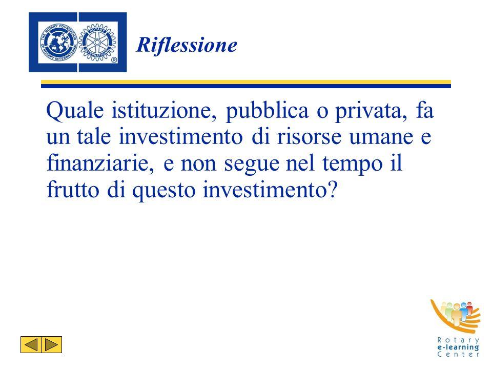 Riflessione Quale istituzione, pubblica o privata, fa un tale investimento di risorse umane e finanziarie, e non segue nel tempo il frutto di questo investimento