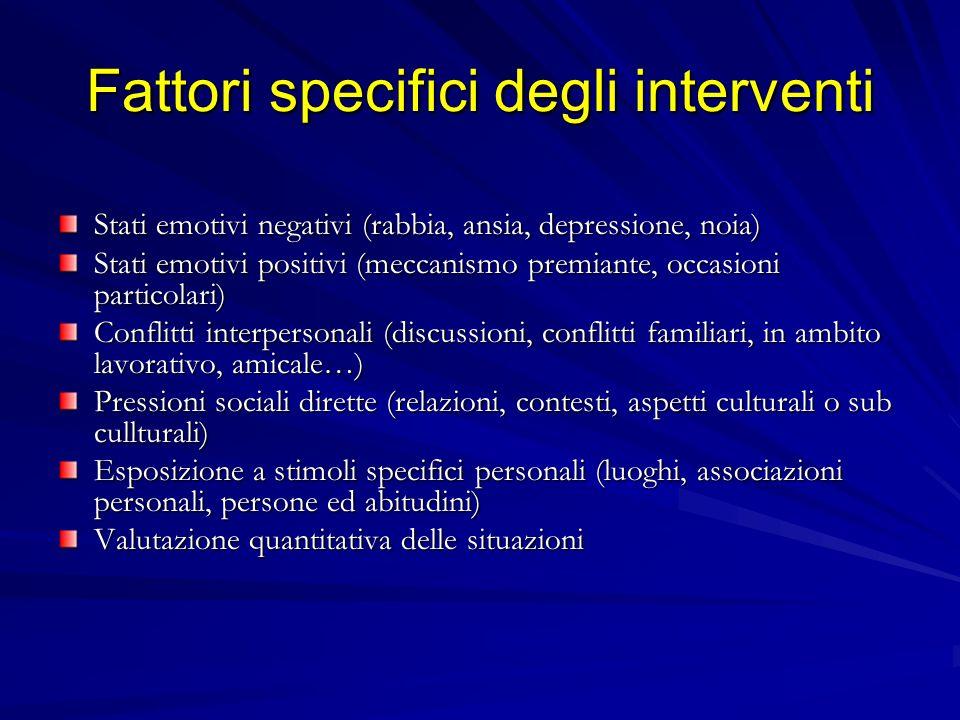 Fattori specifici degli interventi Stati emotivi negativi (rabbia, ansia, depressione, noia) Stati emotivi positivi (meccanismo premiante, occasioni p
