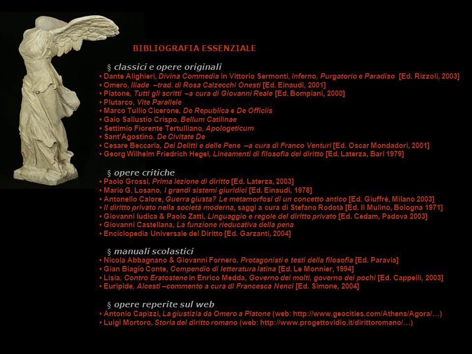 bibliografia BIBLIOGRAFIA ESSENZIALE § classici e opere originali Dante Alighieri, Divina Commedia in Vittorio Sermonti, Inferno, Purgatorio e Paradis