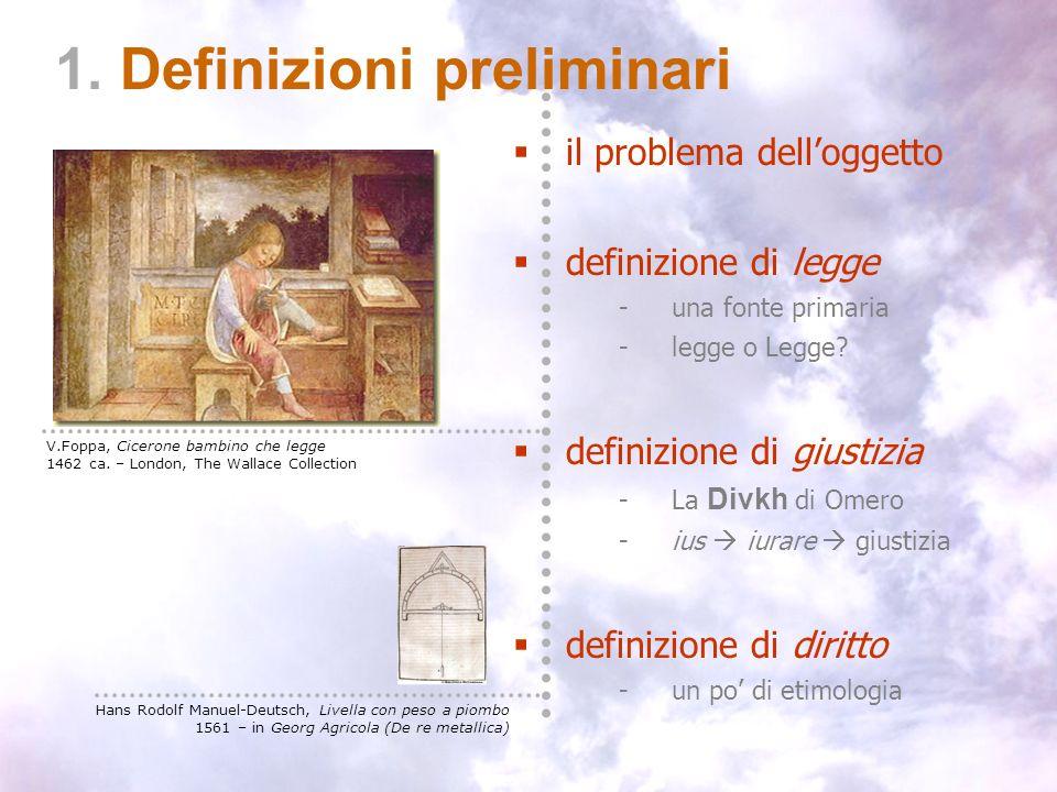 I – definizioni preliminari 1. Definizioni preliminari il problema delloggetto definizione di legge -una fonte primaria -legge o Legge? definizione di