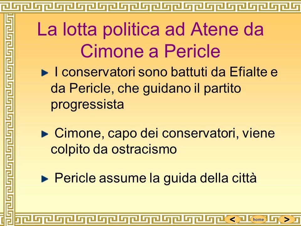 <<<< >>>> home La lotta politica ad Atene da Cimone a Pericle I conservatori sono battuti da Efialte e da Pericle, che guidano il partito progressista