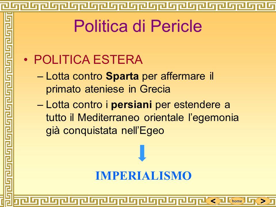 <<<< >>>> home Politica di Pericle POLITICA ESTERA –Lotta contro Sparta per affermare il primato ateniese in Grecia –Lotta contro i persiani per esten