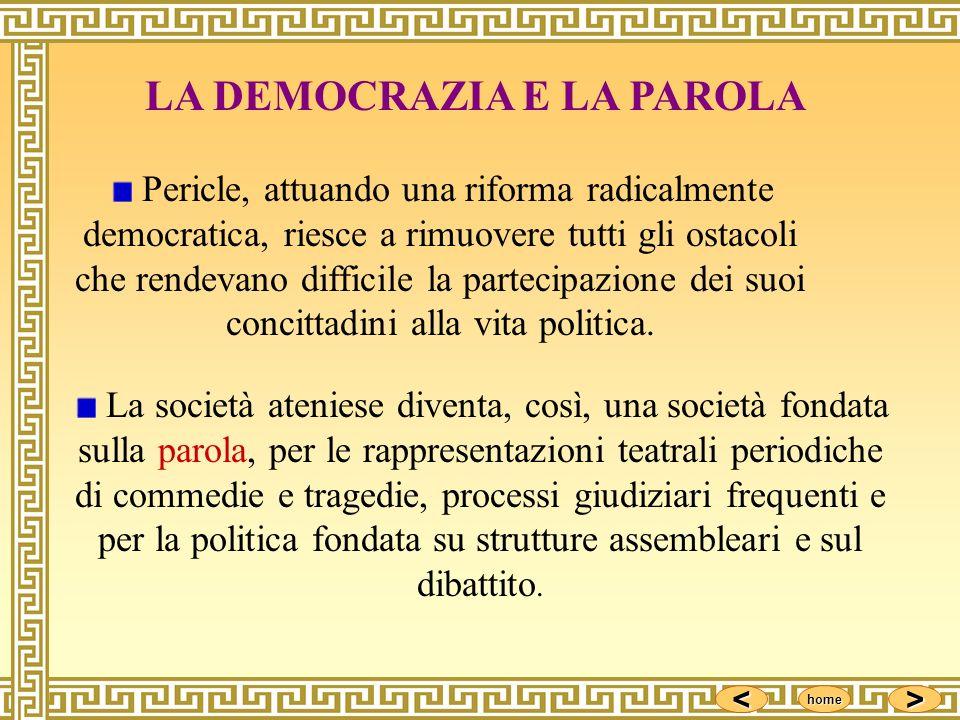 <<<< >>>> home Pericle, attuando una riforma radicalmente democratica, riesce a rimuovere tutti gli ostacoli che rendevano difficile la partecipazione
