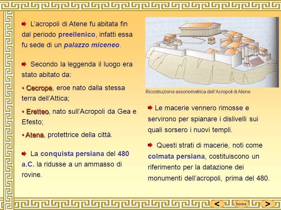 <<<< >>>> home Lacropoli di Atene fu abitata fin dal periodo preellenico, infatti essa fu sede di un palazzo miceneo. Secondo la leggenda il luogo era