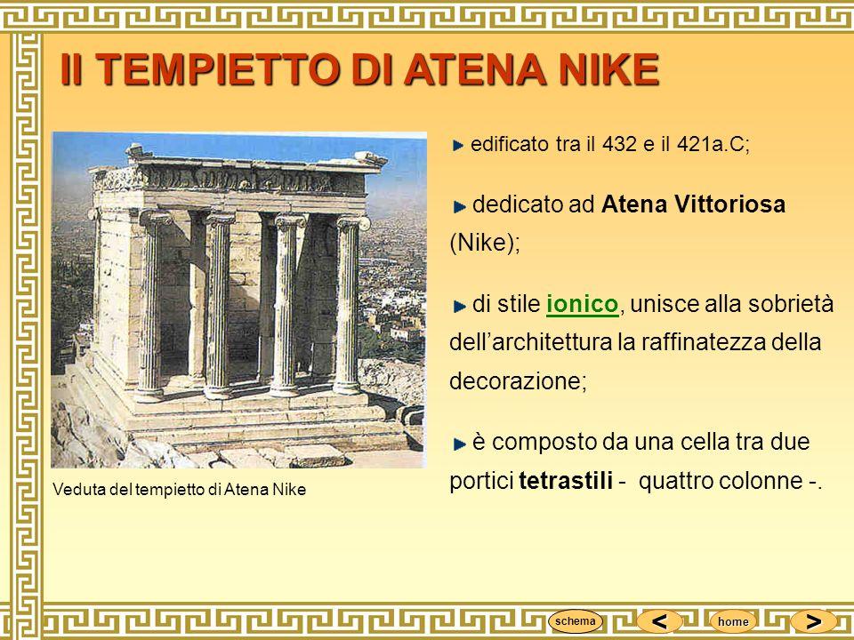 <<<< >>>> home edificato tra il 432 e il 421a.C; dedicato ad Atena Vittoriosa (Nike); di stile ionico, unisce alla sobrietà dellarchitettura la raffin